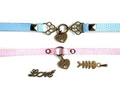 Blue Pink Pet Collar With Ancient Gold Charms And Extender Animal Paw Best Friend Fishbone Love Pendant Small Cat,Puppy,Rat,Hamster Collar by charm4smileshop on Etsy