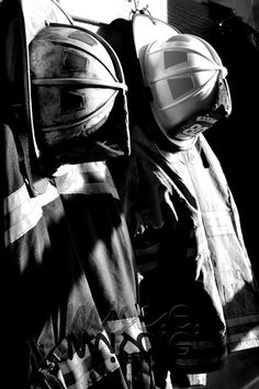 Firefighter/firehouse photos as reception decor-very good idea!