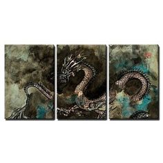 wall26 - 3 Piece Canvas Wall Art - Traditional Ink Painting of a Fierce Chinese Dragon - Modern Home Decor Stretched and Framed Ready to Hang - 24