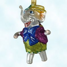 Elephant, Larry Fraga Ornaments, Dresden Dove, 2002, Golden hat, backpack, fuchsia , blue, green outfit