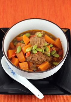 savory pork stew with miso, sweet potatoes and edamame.
