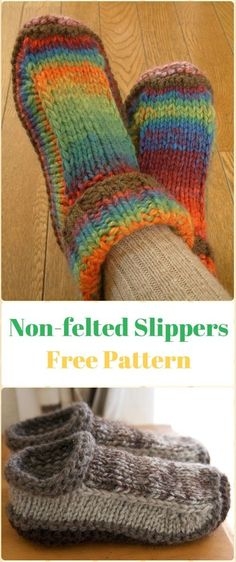 Knit Non-felted Slippers Free Pattern - Knit Adult Slippers Free Patterns
