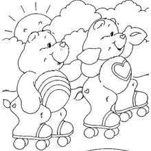 Care Bears rollerskating coloring page - Coloring page - CHARACTERS coloring pages - TV SERIES CHARACTERS coloring pages - CARE BEARS coloring pages - CARE BEAR coloring pages