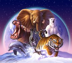 JERRY LOFARO painted this beautiful painting:):)  Can you name the animals?