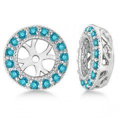 Vintage Fancy Blue Diamond Earring Jackets 14k White Gold (0.40ct)
