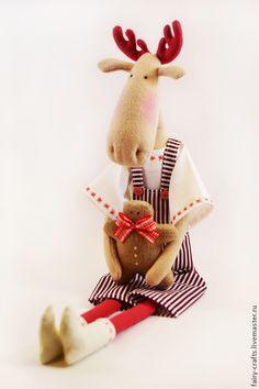 Купить Тильда лоси - тильда, тильда лось, интерьерная кукла, интерьерная игрушка, Новый Год