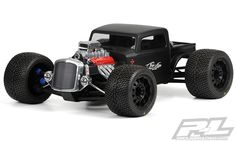 The #prolineracing Rat Rod body features an exposed and highly detailed scale super-charged engine with sticker choices ranging from 396 to 502. Pro-Line finishes off the Rat Rod scheme with custom engine stickers and grill/headlight decals. Mfg part number 3410-00