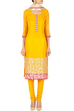 Yellow embroidered kurta set BY SVA. Shop now at perniaspopupshop.com