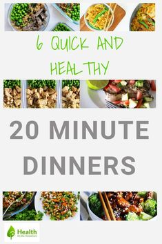 6 Quick and healthy 20 minute dinners. Easy meals for weight loss and a mix of vegetarian, chicken and beef recipes. If you are wanting to lose weight with clean eating recipes use these for quick meal prep. Vegetarian Recipes Easy, Clean Eating Recipes, Healthy Dinner Recipes, Vegetarian Chicken, Beef Recipes, Lunch Recipes, Dessert Recipes, Healthy Family Meals, Healthy Snacks For Diabetics