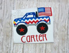 Monster truck shirt or bodysuit 4th of July monster by sewwhimzy, $24.00