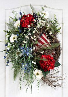 Patriotic Front Door Wreath Primitive American by FloralsFromHome, $158.00