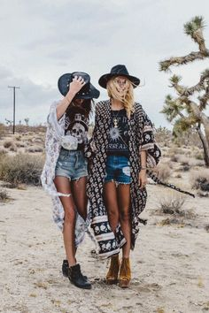 Boho bohemian girls with hats kimonos tshirts and jean shorts