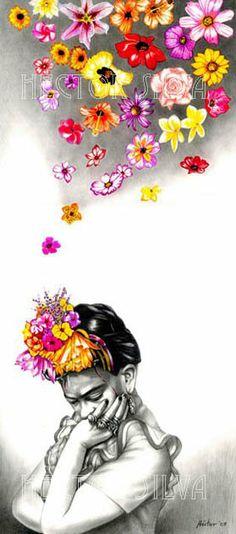 Frida by Hector Silva Diego Rivera, Frida E Diego, Frida Art, Illustrations, Illustration Art, Kahlo Paintings, Latino Art, Mexican Artists, Chicano Art