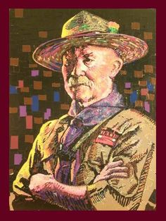 Dean White, an art teacher and Assistant Scoutmaster from the Atlanta area, recently completed this portrait of Robert Baden-Powell using 30 rolls of duct tape! It measures 4 x 3', and took 50 hours to complete.