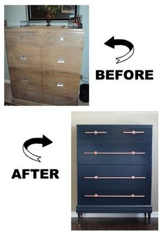 navy-and-copper-mid-century-dresser-transformation-before-and-after-upcycledtreasures