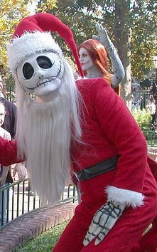 Jack Skellington as Sandy Claws at Disneyland during Christmastime  Face Character Meet and Greets