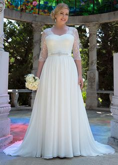 Venus Bridal VW8744 // Chiffon gown with Illusion neckline and ¾ length sleeves. V-back with zip and buttons. Chapel length train.