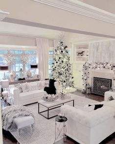 Bright White Home Series - Christmas Edition - Summer Adams Glamour Living Room, Home Living Room, Living Room Designs, Living Room Decor, White Living Room Furniture, Rustic Furniture, White Rooms, White Houses, Living Room Inspiration