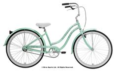 Don't have minty fresh breath? Then get a minty fresh bike instead. The Micargi Rover single-speed beach cruiser features comfort and style and is built t Beach Cruiser Bikes, Cruiser Bicycle, Beach Cruisers, Kona Bikes, Small Trailer, Fab Life, Sports Toys, Cycling Equipment, Woman Beach