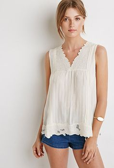 Contemporary Pleated Floral-Embroidery Top | Forever 21 - 2000130278, size M