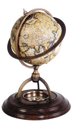 Features:  -Antiqued terrestrial ocean globe.  -Compass in base.  -Globe's semi-matte finish complements both traditional and contemporary decor.  Product Type: -Tabletop & Desk Globes.  Design: -Poli