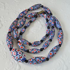 Vintage Venetian Matching Italian Millefiori Glass Bead Necklace Red Blue Gold