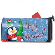 MailWraps Magnetic Mailbox Cover - Penguin Christmas