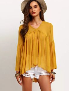 shirt check on sale at reasonable prices, buy SheIn Latest Designs Streetwear Style Brand Women Shirts Yellow Bell Sleeve Round Neck Ruffle Casual Blouse from mobile site on Aliexpress Now! Streetwear Mode, Streetwear Fashion, Hijab Fashion, Boho Fashion, Fashion Outfits, Sheer Blouse, Ruffle Blouse, Ruffle Top, Hijab Stile