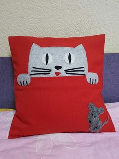 Book Pillow, Reading Pillow, Cat Pillow, Sewing Art, Sewing Toys, Sewing Crafts, Sewing Projects, Cute Cushions, Animal Cushions