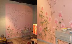 Modern chinoiserie 'Royal Flower' design from Misha wallpaper, hand painted on Pink silk.