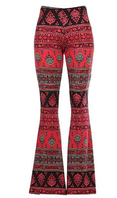 Bohemian Red Tribal Flare Pants – West 32nd Boutique