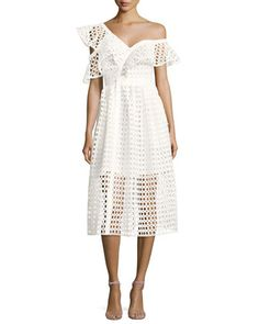 Lace+Frill+Asymmetric+Cold-Shoulder+Midi+Dress,+White+by+Self-Portrait+at+Neiman+Marcus.