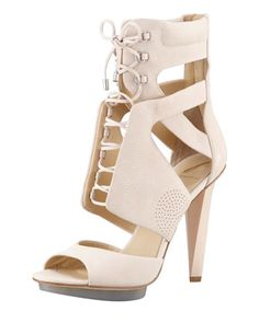 B Brian Atwood Sporty Lace-Up Leather Sandal