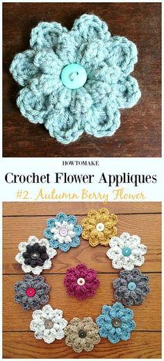 Autumn Berry Flower Free Crochet Pattern-Easy #Crochet #Flower Appliques Free Patterns