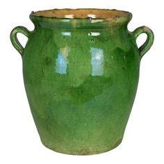An earthenware confit pot from the Southwest of France with traditional green glaze. These ordinary earthenware vessels were once used daily in the. Earthenware, Stoneware, Olive Jar, Green Vase, French Country House, Terracotta Pots, Glass Collection, Interior Paint, Ceramic Pottery