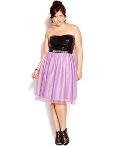 Trixxi Plus Size Dress, Strapless Sequin Embellished - Junior Plus Dresses - Plus Sizes - Macys