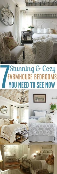 These 7 Farmhouse Bedroom Designs Are So CUTE! I'd for my bedroom to look like any of these!