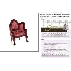 Dollhouse Miniature Scale Victorian Heart Armchair, Rose & Mahogany w/3-Scale Wallet Ruler