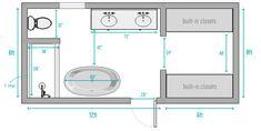 Our Master Bathroom: Before & Afters Plus A Budget Breakdown! Master Bathroom Plans, Master Bathroom Layout, Master Bathrooms, Small Bathroom Floor Plans, Bathroom Layout Plans, Bathroom Design Layout, Narrow Bathroom, Shiplap Bathroom, Concrete Bathroom