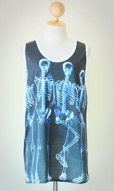 Football Part Of Secuity Skeleton X-RAY White Singlet Tank Top Photo Transfer Sleeveless Funny Humor Punk Rock T-Shirt Size L