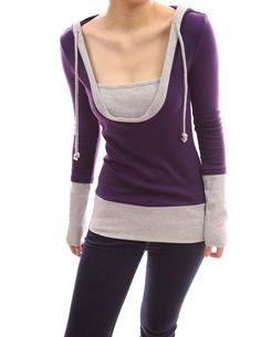 PattyBoutik Stunning 2-in-1 Hoodie Casual Blouse Top $35.00 http://www.amazon.com/dp/B007BXBBWU/?tag=httplorealbew-20