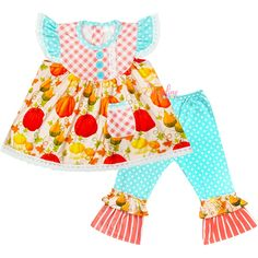 Baby Toddler Little Girl Pumpkin Patch Pocket Tunic & Polka Dot Pants Outfit Set - Aqua/Coral - 4 - 5T