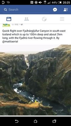 flight over Fjaðrárgljúfur Canyon in south east Iceland which is up to 100m deep and about 2km long, with the Fjaðrá river flowing