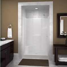 Definitely want to tile the master walk-in shower surrounded...ceiling and all!!  Love this look!! Upstairs Bathrooms, Downstairs Bathroom, Bathroom Stall, Laundry In Bathroom, Master Bathroom, Shower Stall Kits, Shower Inserts, Fiberglass Shower Stalls, Fiberglass Windows