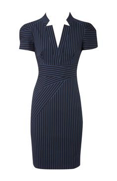 Karen Millen Blue Tailored Pinstripe Dress Womens