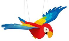 Wooden Parrot Mobile.Flapping/Flying/Hanging Bird Decoration.Baby Nursery Kids