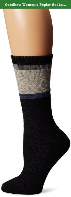 Goodhew Women's Poplar Socks, Black, Medium/Large. At Good hew we are committed to crafting lifestyle inspired products with high performance technology and yarns. Our patterns and colors spin a fresh optimistic design aesthetic while our custom-crafted yarns provide unsurpassed natural performance. One pair of socks, one complete package. All of our products are made and crafted in the USA, using the finest quality raw materials including, Homegrown Superfine Merino Wool (Cash merino)...