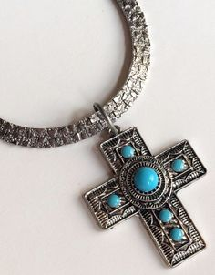 "Silver Turquoise Cross Necklace Chunky Plated Tribal Southwestern 24"" Plus Size #Unbranded #Pendant"