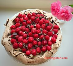 Raspberry Chocolate Pavlova recipe the WOW of desserts. Crisp chocolate meringue hides a fudgey, dense inner, topped with cream and raspberries. Chocolate Pavlova, Chocolate Meringue, Raspberry Chocolate, Elegant Desserts, Just Desserts, Delicious Desserts, Best Dessert Recipes, Raw Food Recipes, Sweet Recipes