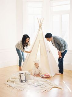 family session with a kids teepee // photo by caroline tran